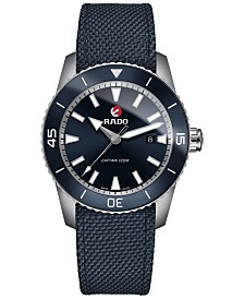 Rado Men's Swiss Automatic HyperChrome Captain Cook Blue Fabric Strap Watch 45mm