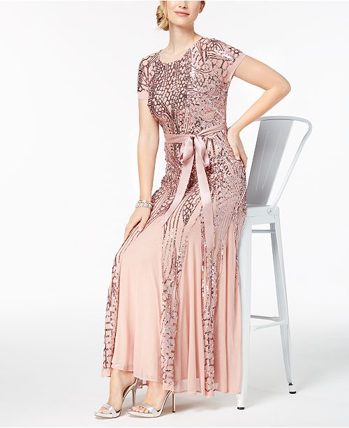 42ebbc45a7f R   M Richards Sequin-Embellished Pleated Gown   Reviews - Dresses ...