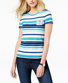 Tommy Hilfiger Cotton Chambray-Pocket Striped Top, Created for Macy