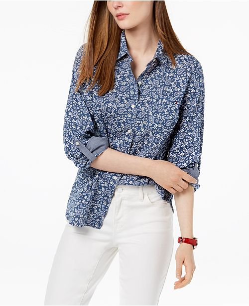 d78cdb03 ... Tommy Hilfiger Cotton Printed Button-Down Shirt, Created for Macy's ...