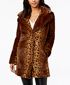 kensie Faux-Fur Leopard Coat