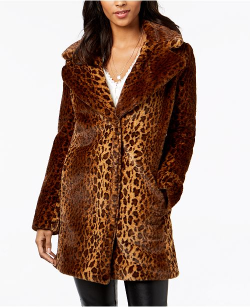 12f5dae0e kensie Faux-Fur Leopard Coat   Reviews - Coats - Women - Macy s