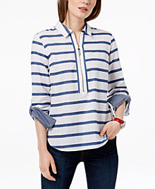 Tommy Hilfiger Cotton Gauze Striped Popover Top, Created for Macy's