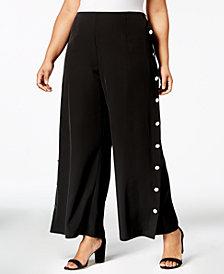 Love Scarlett Plus Size Buttoned Wide-Leg Pants