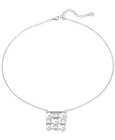 "Majorica Sterling Silver Cubic Zirconia & Imitation Pearl Pendant Necklace, 16"" + 2"" extender"