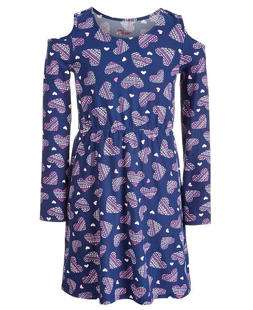 Epic Threads Big Girls Cold Shoulder Heart-Print Dress, Created for Macy's