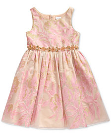 Sweet Heart Rose Little Girls Metallic Floral Dress