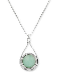 "Lucky Brand Silver-Tone Round Stone Reversible 32"" Pendant Necklace"