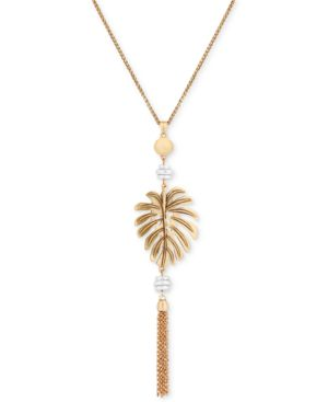 "TWO-TONE PALM LEAF FRINGE PENDANT NECKLACE, 26"" + 2"" EXTENDER"