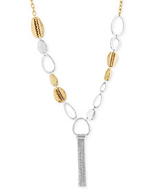 "Lucky Brand Two-Tone Link & Chain Tassel Pendant Necklace, 24-1/2"" + 2"" extender"