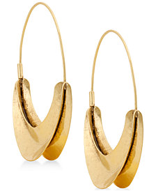 Lucky Brand Gold-Tone Organic Hoop Earrings