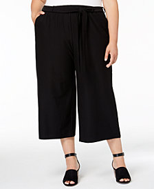 Eileen Fisher Plus Size Washable Crepe Cropped Wide-Leg Pants