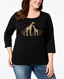 Karen Scott Plus Size Cotton Giraffe Pair T-Shirt, Created for Macy's