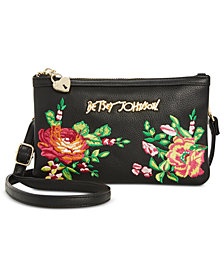 Betsey Johnson Embroidered Convertible Crossbody with Phone Charger