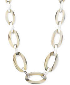 "Lauren Ralph Lauren Silver-Tone & Horn-Look Large Link Statement Necklace, 20"" + 2"" extender"