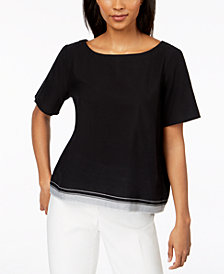 Eileen Fisher Organic Cotton Contrast-Hem Top