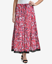 NY Collection Printed Tiered Crochet-Trim Midi Skirt