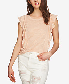 1.STATE Linen Ruffled Top