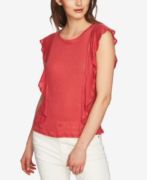 LINEN RUFFLED TOP