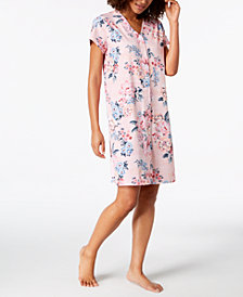 Miss Elaine Printed Snap-Front Short Robe