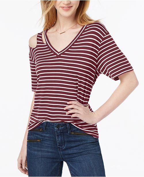 Ultra Flirt Juniors' Striped Cutout T-Shirt
