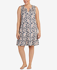 Lauren Ralph Lauren Plus Size Cotton Classic Knits Printed Nightgown