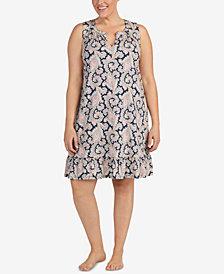 Lauren Ralph Lauren Plus Size Cotton Classic Knits Printed Nightgown