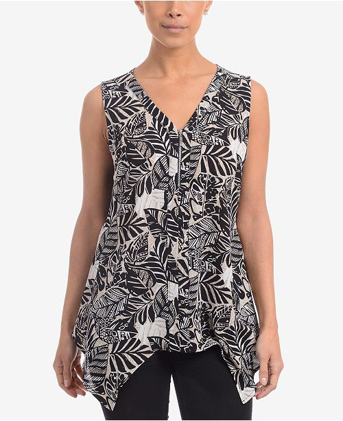 NY Collection Printed Handkerchief-Hem Blouse