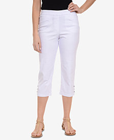 NY Collection Solid Snap Capri Pants
