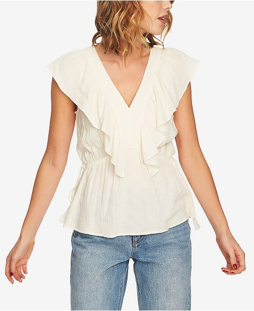 Top STATE Neck 1 V Antique Ruffled White Gauzy wXqgUgd7Ex