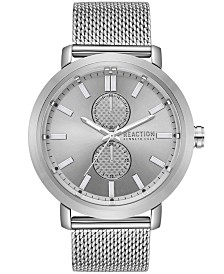 Kenneth Cole Reaction Men's Silver-Tone Mesh Bracelet Watch 45mm