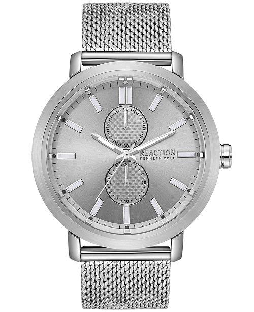 Kenneth Cole Reaction Men's Silver-Tone Mesh Bracelet Watch 45mm