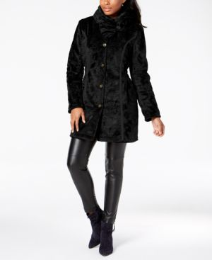 LAUNDRY BY SHELLI SEGAL Laundry By Shelli Segal Reversible Faux Shearling & Quilted Coat in Black