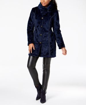 LAUNDRY BY SHELLI SEGAL Laundry By Shelli Segal Reversible Faux Shearling & Quilted Coat in Navy