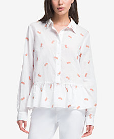 DKNY Embroidered Peplum Shirt