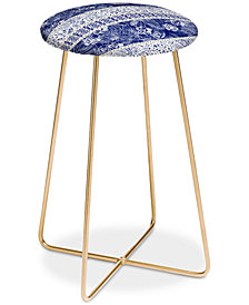 Deny Designs Marta Barragan Camarasa Floral Indigo Counter Stool