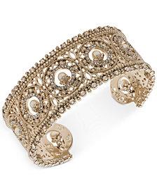 Marchesa Gold-Tone Crystal & Imitation Pearl Cuff Bracelet