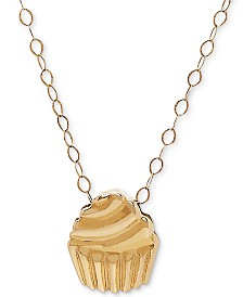 """Tiny Cupcake 17"""" Pendant Necklace in 10k Gold"""
