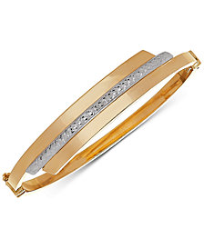 Two-Tone Swirl Bangle Bracelet in 10k Gold & White Gold