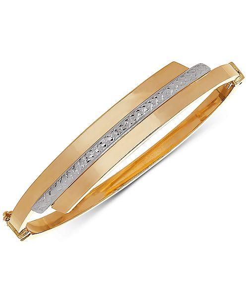 ec41cc53c9868 Two-Tone Swirl Bangle Bracelet in 10k Gold & White Gold