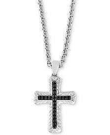 "EFFY® Men's Black Sapphire Cross 22"" Pendant Necklace (7/8 ct. t.w.) in Sterling Silver"