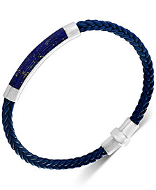 EFFY® Men's Lapis Lazuli Braided Leather Bracelet in Sterling Silver (Also in Malachite, Agate & Tiger's Eye)