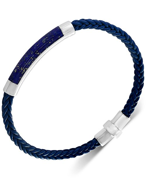 EFFY Collection EFFY® Men's Lapis Lazuli Braided Leather Bracelet in Sterling Silver (Also in Malachite, Agate & Tiger's Eye)