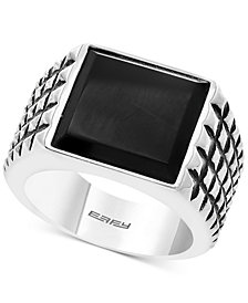 EFFY® Men's Onyx Textured Ring (14mm x 13.8mm) in Sterling Silver
