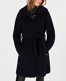 Cole Haan Signature Hooded Textured Belted Walker Coat