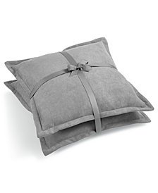 "Lacourte Handcrafted Reversible Solid Chenille 20"" Square Decorative Pillow Pair, Created for Macy's"