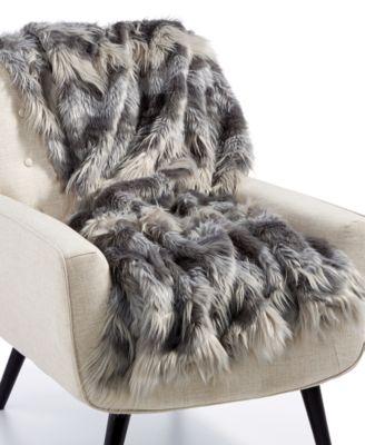 "Luxury Faux-Fur Chevron 50"" x 60"" Throw, Created for Macy's"
