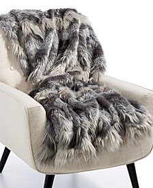 "Lacourte Luxury Faux-Fur Chevron 50"" x 60"" Throw, Created for Macy's"