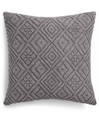 """Cleon Handwoven Geometric 22"""" Square Decorative Pillow, Created for Macy's"""