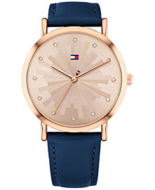 Tommy Hilfiger Women's Navy Leather Strap Watch 36mm Created for Macy's